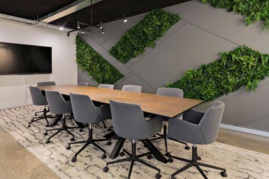 living wall boardroom fitout