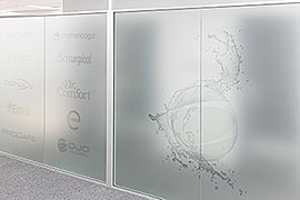 Office frosted glass logos