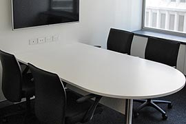 White boardroom table