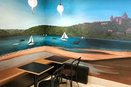 Cafe mural feature wall