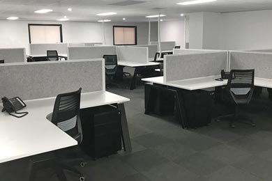 black & white office workstations