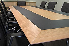 Boardroom table splayed design