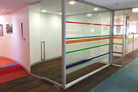 colourful glass office wall