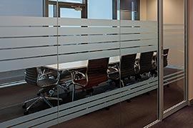 Glass office wall frosted stripes